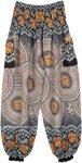 Elephant Mandala Print Harem Pants with Pockets