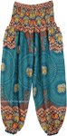Teal Blue Elephant Mandala Print Harem Pants