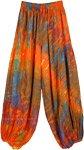 Tie Dye Orange Flame Elastic Waist Harem Pants