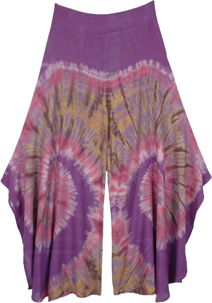 Purple Paradise Rayon Split Leg Boho Pants