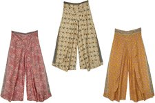 Faux Flap Printed Wide Leg Trouser - Assorted Pack Of 3