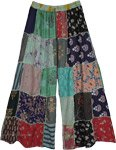 Wide Leg Rayon Patchwork Dori Trousers in Green