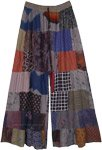 Mixed Patchwork Wide Leg Rayon Trousers in Grey