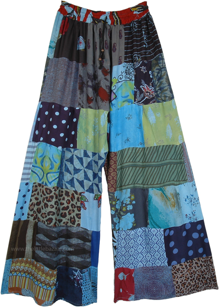 Wide Leg Hippie Patchwork Trousers in Blue