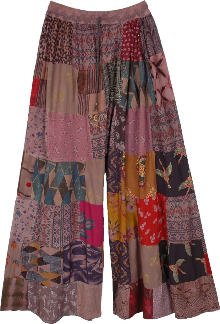 Dusty Mauve Wide Leg Hippie Patchwork Trousers