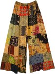Orange Safari Rayon Patchwork Boho Fall Trousers