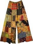 Orange Safari Rayon Patchwork Boho Fall Trousers