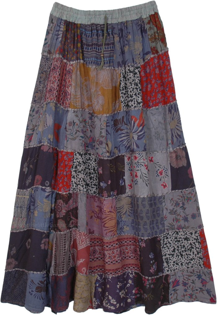 Mixed Patchwork Rayon Skirt with Thick Thread in Grey