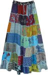 Blue Hues Patchwork Rayon Long Skirt with Thick Thread