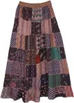 Dusky Pink Mauve Mixed Patchwork Rayon Long Skirt
