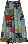 Cascade Green Patchwork Ankle Length Rayon Skirt