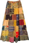 Orange Dawn Mixed Patchwork Ankle Length Rayon Skirt