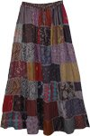Rayon Long Patchwork Skirt with Square Dori in Grey
