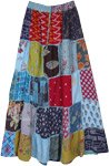 Elegant Blues Mixed Patchwork Rayon Long Skirt