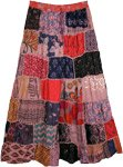 Rose Pink Hues Long Patchwork Boho Skirt in Rayon