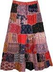 Rose Pink Hues Long Patchwork Boho Skirt in Rayon