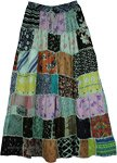 Green Hues Rayon Long Patchwork Boho Skirt