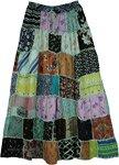 Green Hues Rayon Long Patchwork Boho Skirt