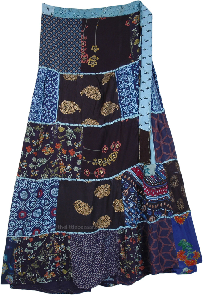 Blue Printed Patchwork Rayon Wrap Around Skirt