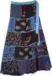 Blue Printed Patchwork Rayon Wrap Around Skirt