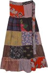 Heather Printed Patchwork Wrap Around Skirt in Rayon
