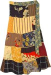 Sunshine Mixed Pattern Patchwork Wrap Around Skirt with Dori