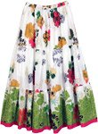 Bright Floral Tiered Printed White Cotton Skirt