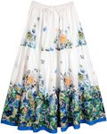 Serene White Floral Print Boho Cotton Skirt