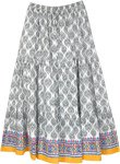 Berlin Boho Long Cotton Tiered Printed Skirt