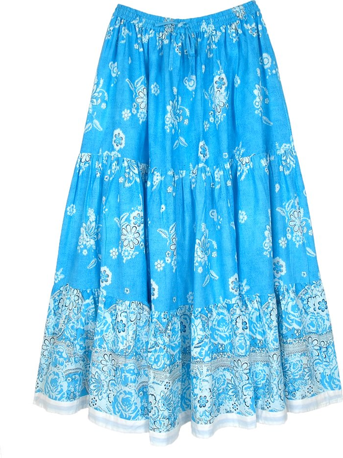 Blue Boho Cotton Skirt with White Floral Print