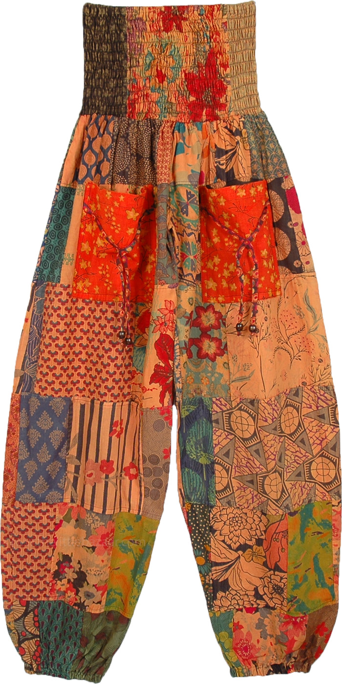 Sunset Hue Patchwork Cotton Harem Smocked Pants
