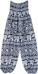 Ethnic Elephant Print Smocked Harem Pants in Blue