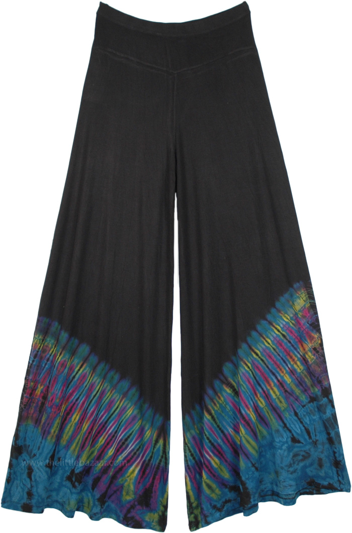 Teal Wave Stretchy Palazzo Pants with Tie Dye
