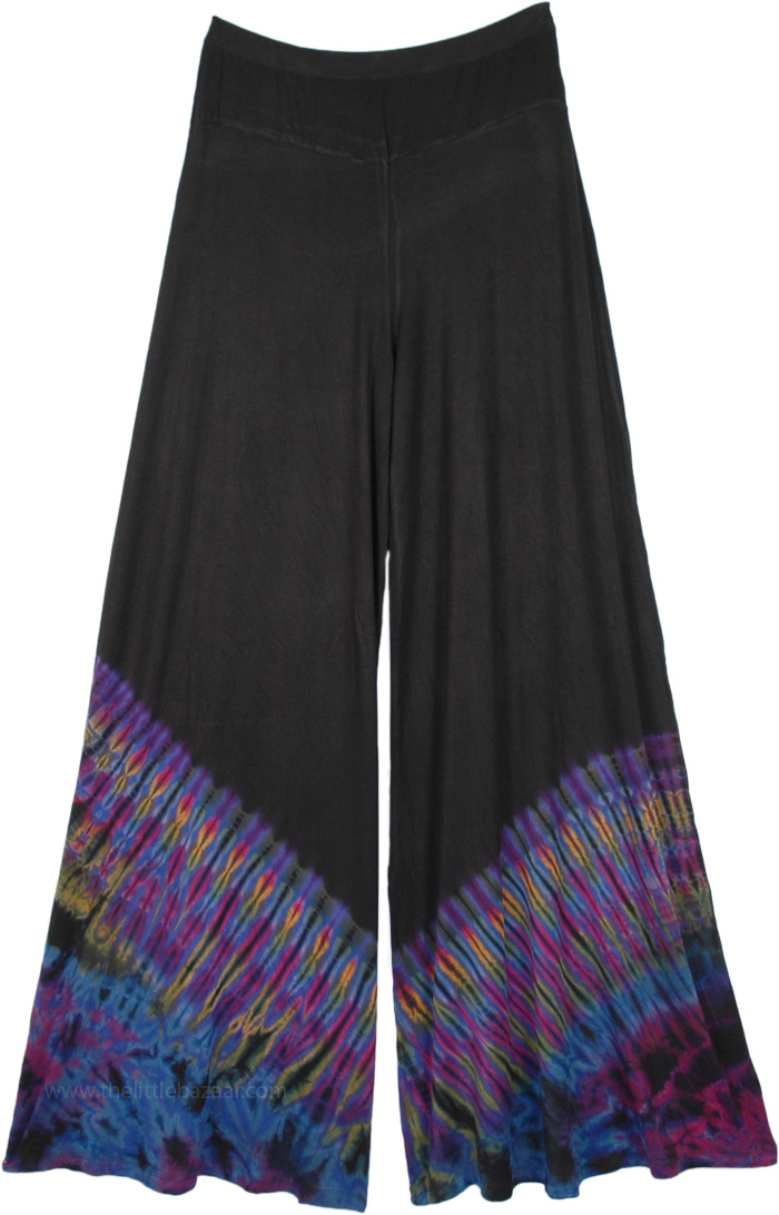 Stretchy Black Palazzo Pants with Navy Blue Tie Dye