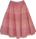 Embroidered Pink Hakoba Long Skirt
