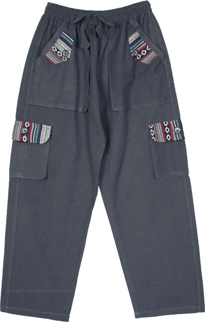 Dark Gray Unisex Boho Cotton Pants with Cargo Pockets