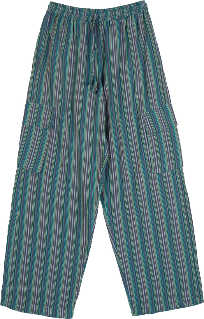 Tender Green Unisex Striped Hippie Pants in Cotton