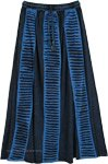 Cerulean Blue Ripped Patch Boho Long Skirt