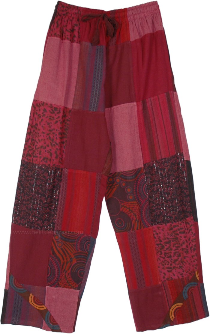 Red Hues Hippie Lounge Patchwork Cotton Pants