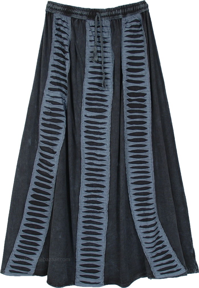 Black Gray Elastic Drawstring Waist Boho Long Skirt