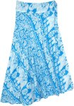 Blue and White Elephant Print Mid Length Wrap Skirt