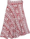 Red and White Elephant Print Mid Length Wrap Skirt