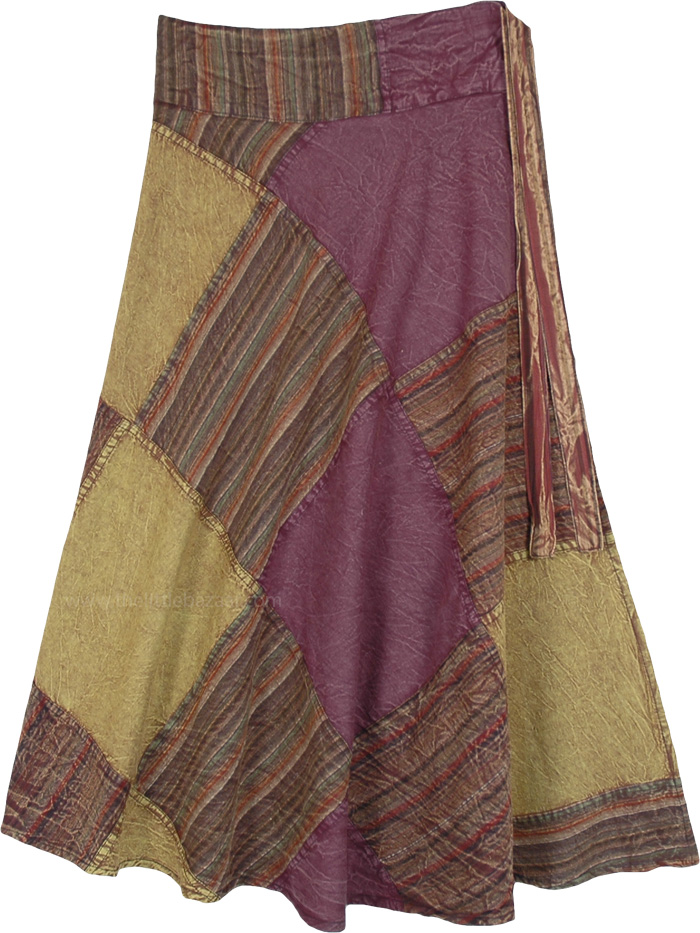 Amethyst and Olive Patchwork Wrap Skirt in Woven Cotton
