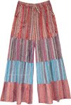 Fiery Red and Cool Blue Bohemian Multicolored Stripe Pants