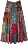 Earthen Garden Printed Patchwork Maxi Cotton Skirt