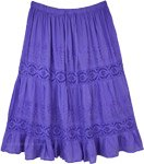 Lilac Blue Skirt with Lace Details