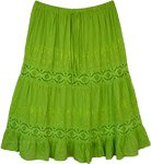 Parrot Green Flared Skirt with Lace Details