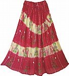 Dark Pink Golden Painted Long Skirt