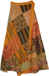 Sunset Blossom Patchwork Wrap Around Skirt