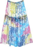 Pastel Tie Dye Tiered Long Skirt with Black Print